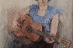 """Olgierd Bierwiaczonek """"Grająca gitarzystka - portret siostry Alicji"""""""